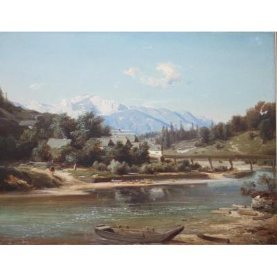 Beautiful Alpine Landscape - Master Of The 19th Century - Very Tasty Painting - Bernhard M. Girscher