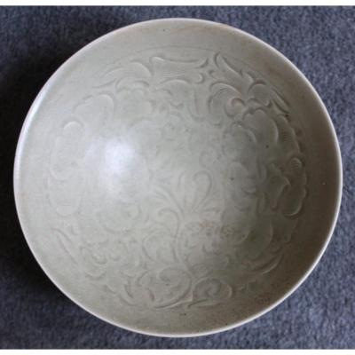 Yaozhou Carved Celadon Conical Bowl - Song Dynasty