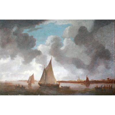 Cercle Ou Suiveur De Jan Van Goyen - Rivière Spaarne Avec Haarlem Et l'église Saint Bevo
