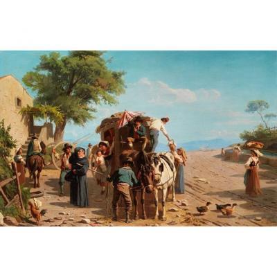 Calèche Avec Passagers Dans Une Taverne - Abraham A. Zwahlen