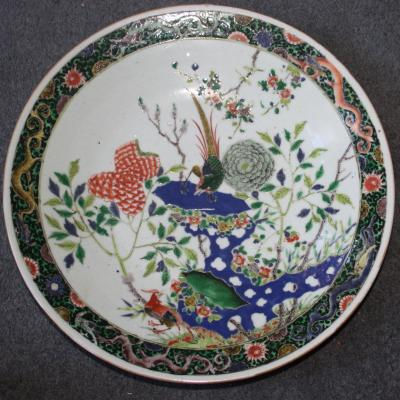 Rare Grand Plat Famille Verte Chinoise - Kangxi - Phoenixes And Flowers