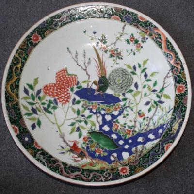 Rare Grand Plat Famille Verte Chinoise - Kangxi - Phoenixes And Flowers