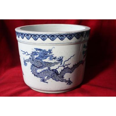 <strong>Blue and White Jardiniere</strong><br />