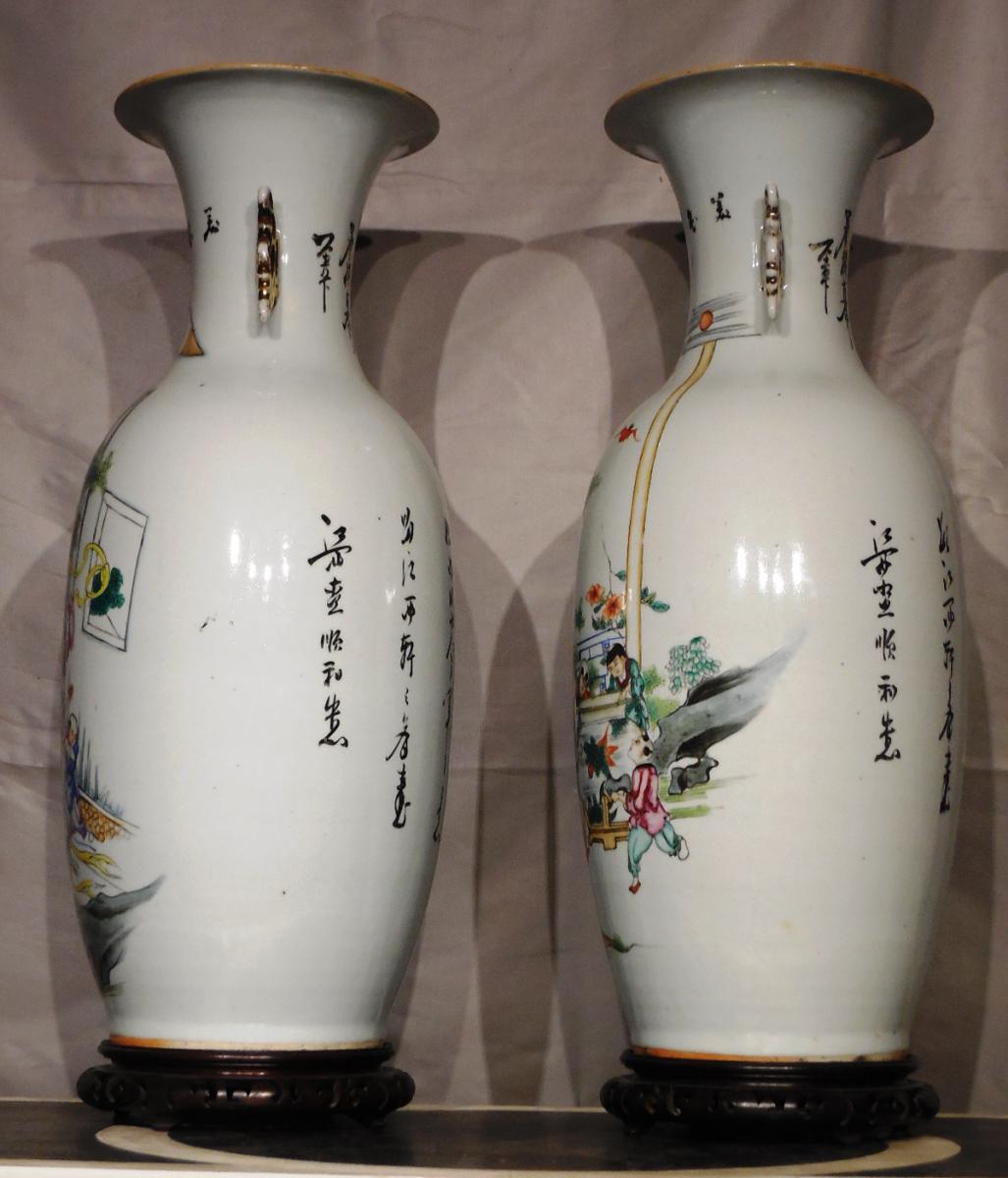 Paire De Vases En Porcelaine De Forme Balustre XXeme  -photo-2