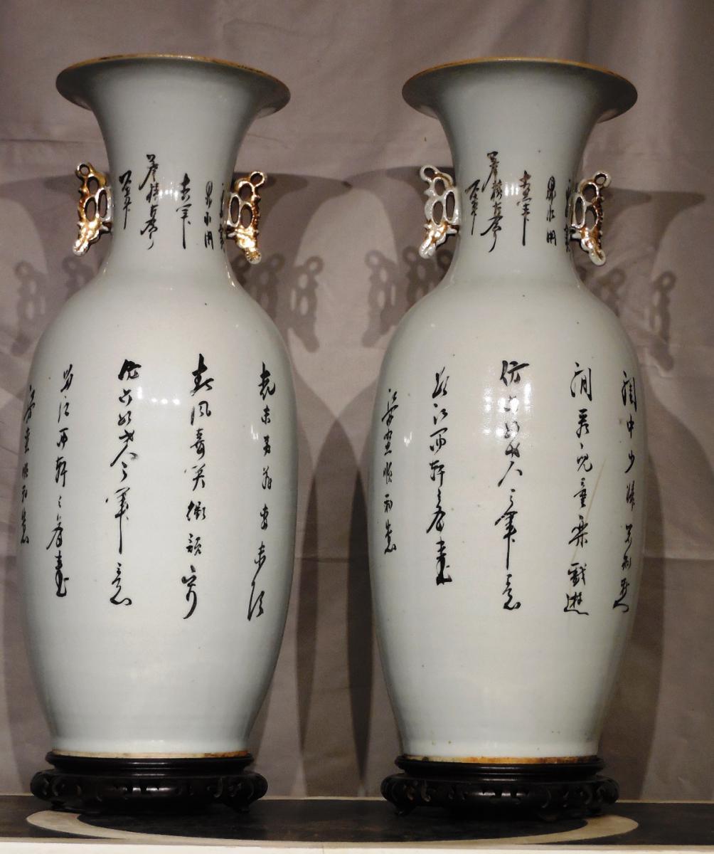 Paire De Vases En Porcelaine De Forme Balustre XXeme  -photo-3