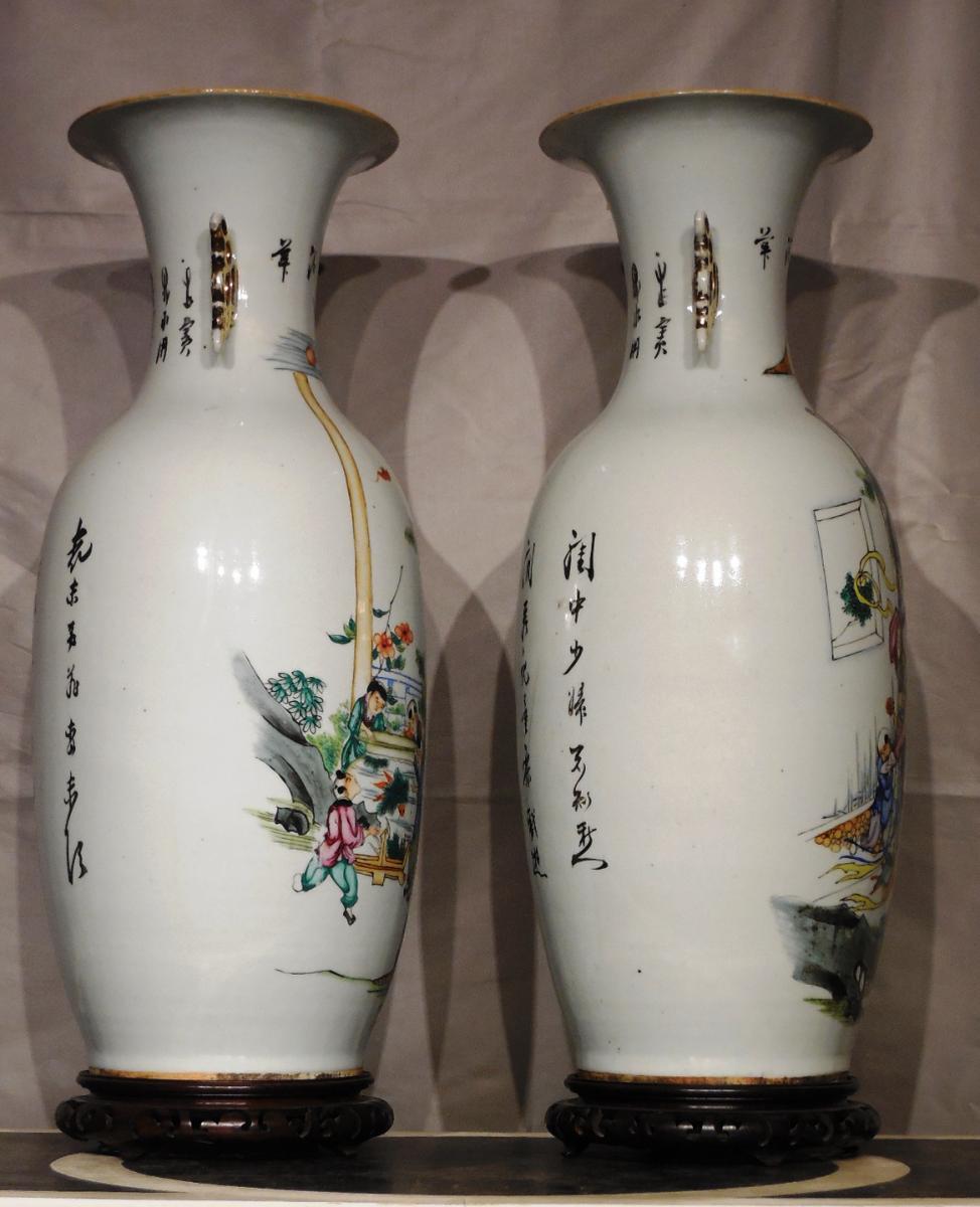 Paire De Vases En Porcelaine De Forme Balustre XXeme  -photo-4