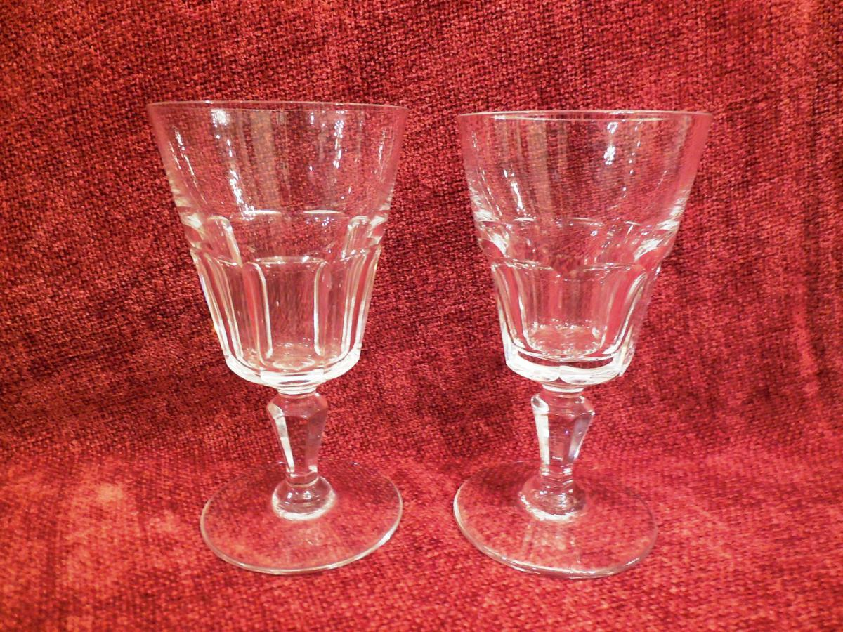 Two Glasses White Wine Crystal Baccarat