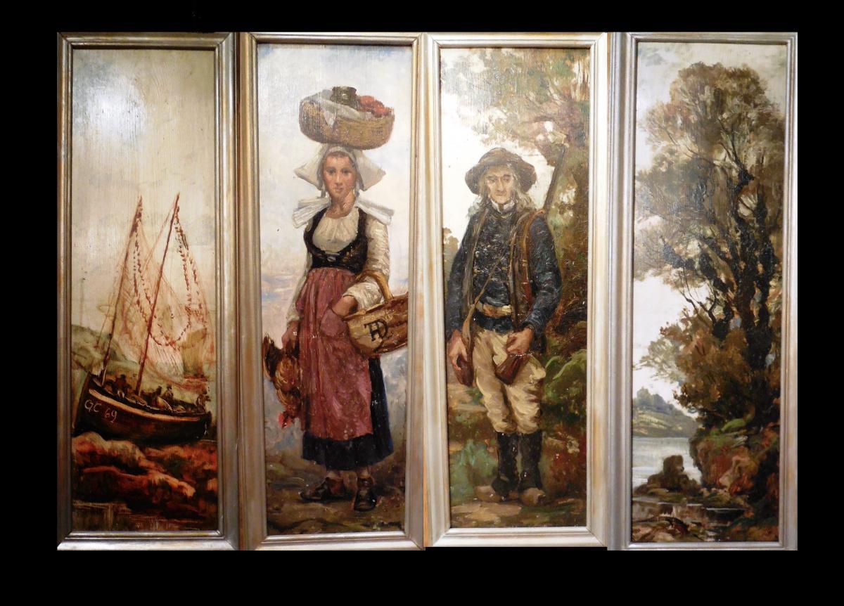 4 panneaux de Théophile Deyrolle(habillage De Portes/volets)
