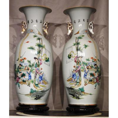 Pair Of Vases Porcelain Baluster Form XX