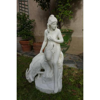 Sculpture In White Marble, Amalthea And The Jupiter's Goat, XIXth