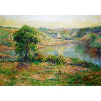 Marius Gourdault , Huile Sur Toile, Le  Port De Doëlan