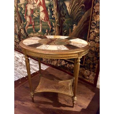 L XVI Style Pedestal Table, Mother Of Pearl And Marble Marquetry.