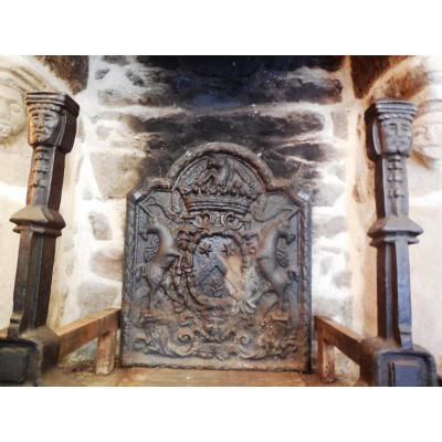 Importante plaque de cheminée du 17éme,Marquis De Charnacé