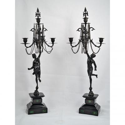Pair Of Candlesticks Restoration Period 1830