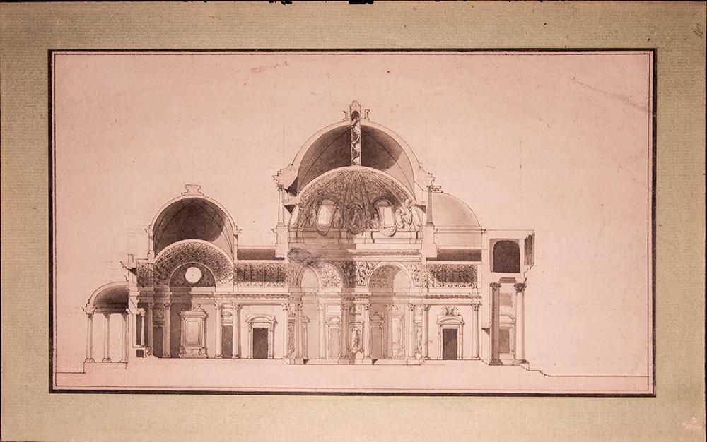 Projet d'église à dôme, école française vers 1765-1775