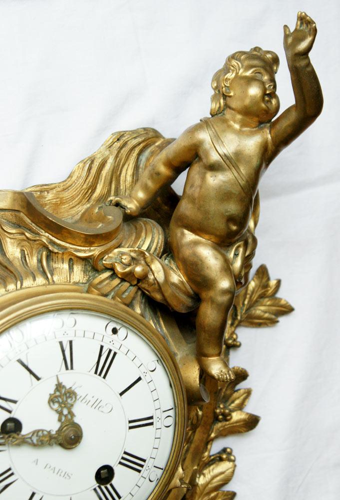 A Louis XV Ormolu Gilt Bronze Cartel Clock -photo-2