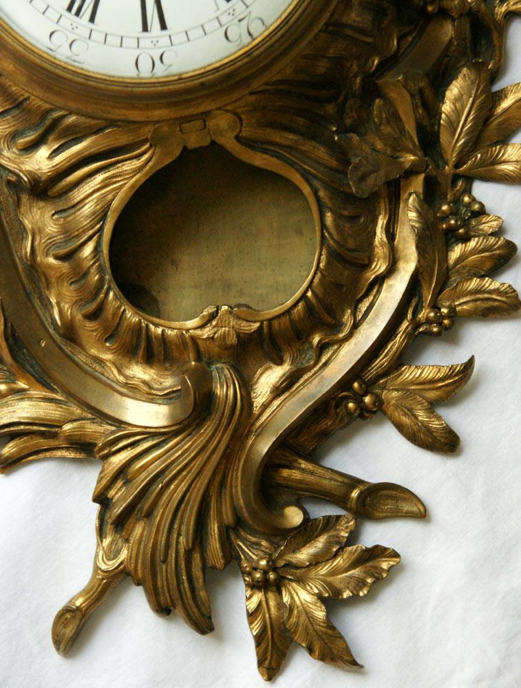 A Louis XV Ormolu Gilt Bronze Cartel Clock -photo-3
