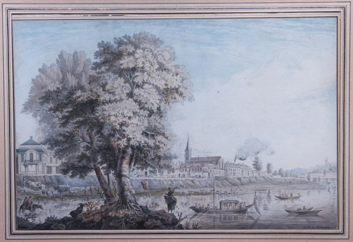 Animated Banks View, Drawing By Baraignie, 1781