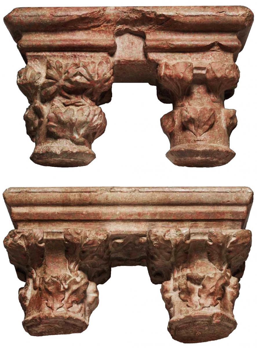Pair Of Geminate Capitals In Languedoc Marble, 15th Century