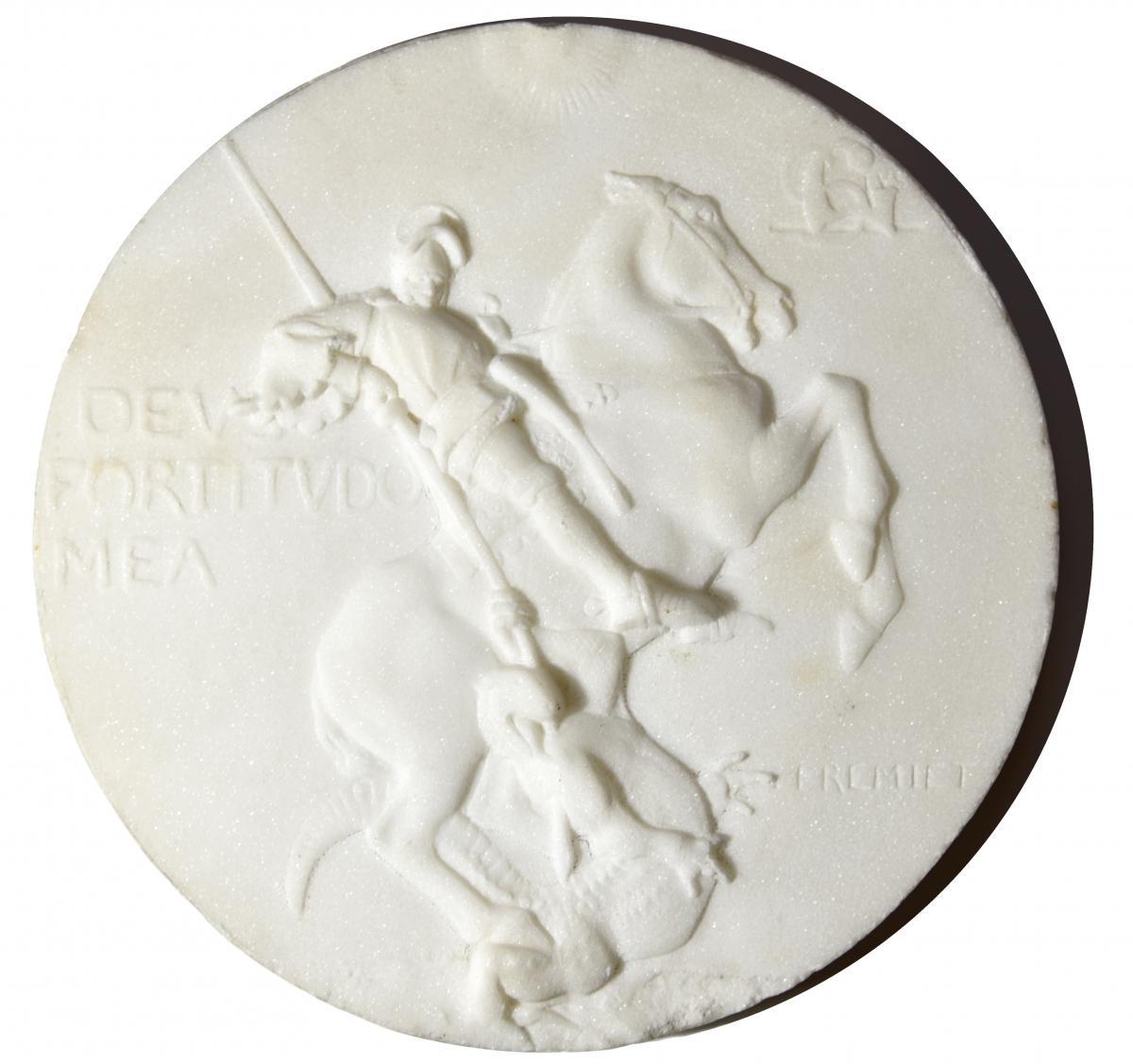 Emmanuel FREMIET - médaillon en marbre de St Georges