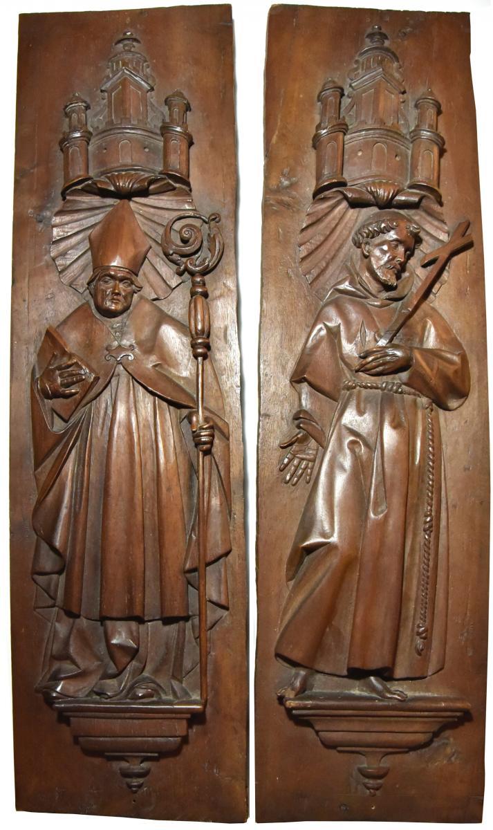 Panneaux de stalles vers 1600, évêque et St François d'Assis