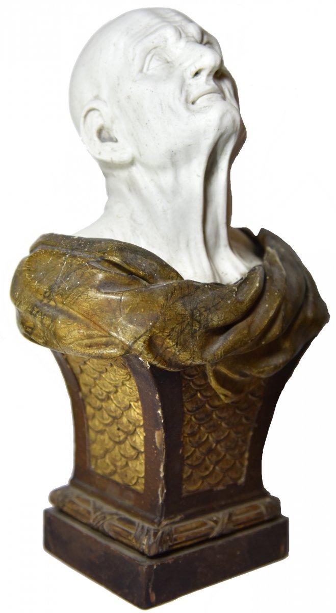 Buste en biscuit du pseudo-Sénèque d'après Guido Reni monté sur une gaine en bois, fin XVIIIe