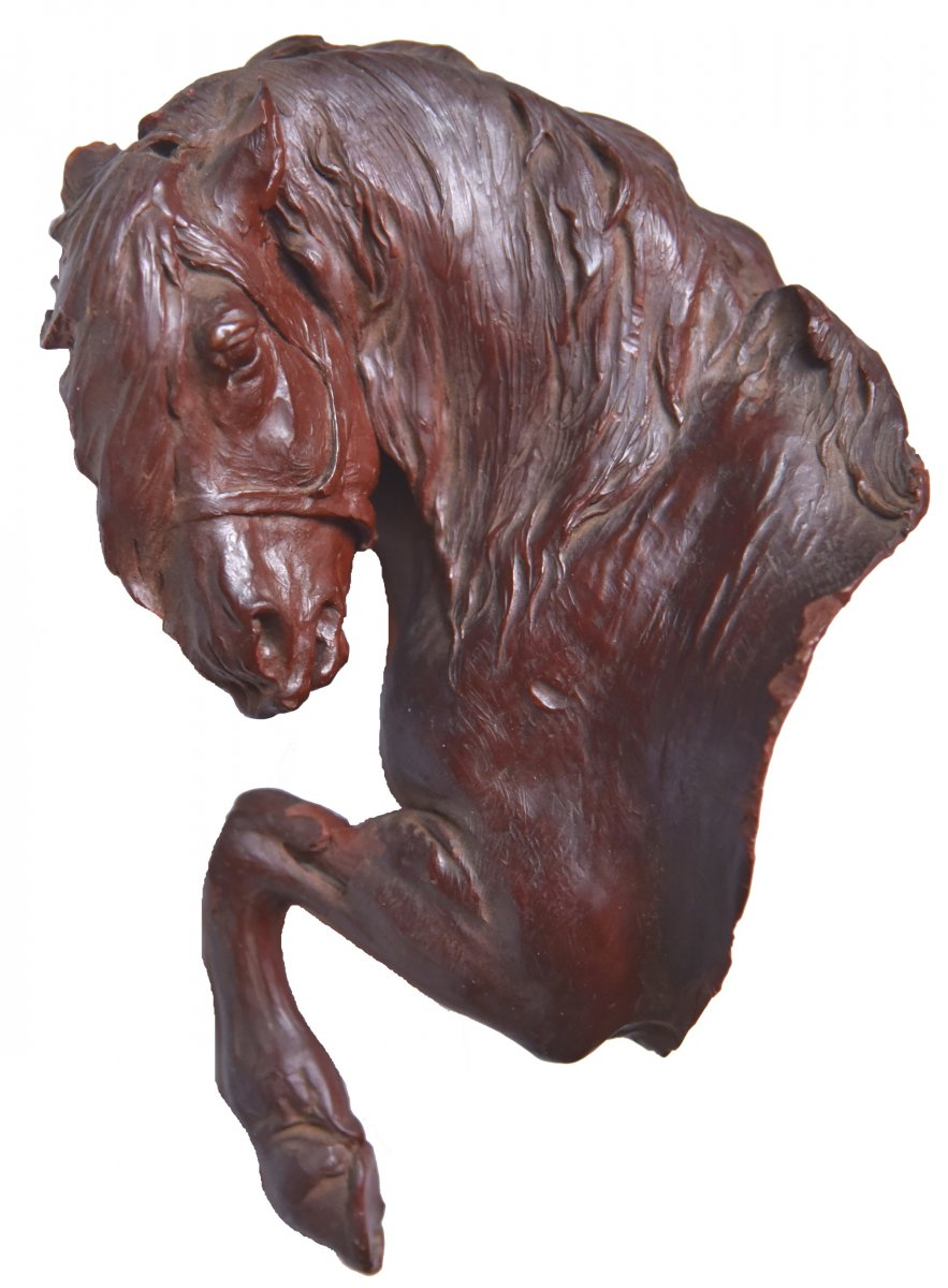 Wax Horse Bust, Original Sculpture