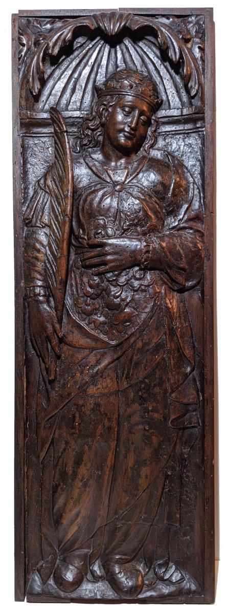 Sainte-Elisabeth de Hongrie, panneau sculpté Renaissance
