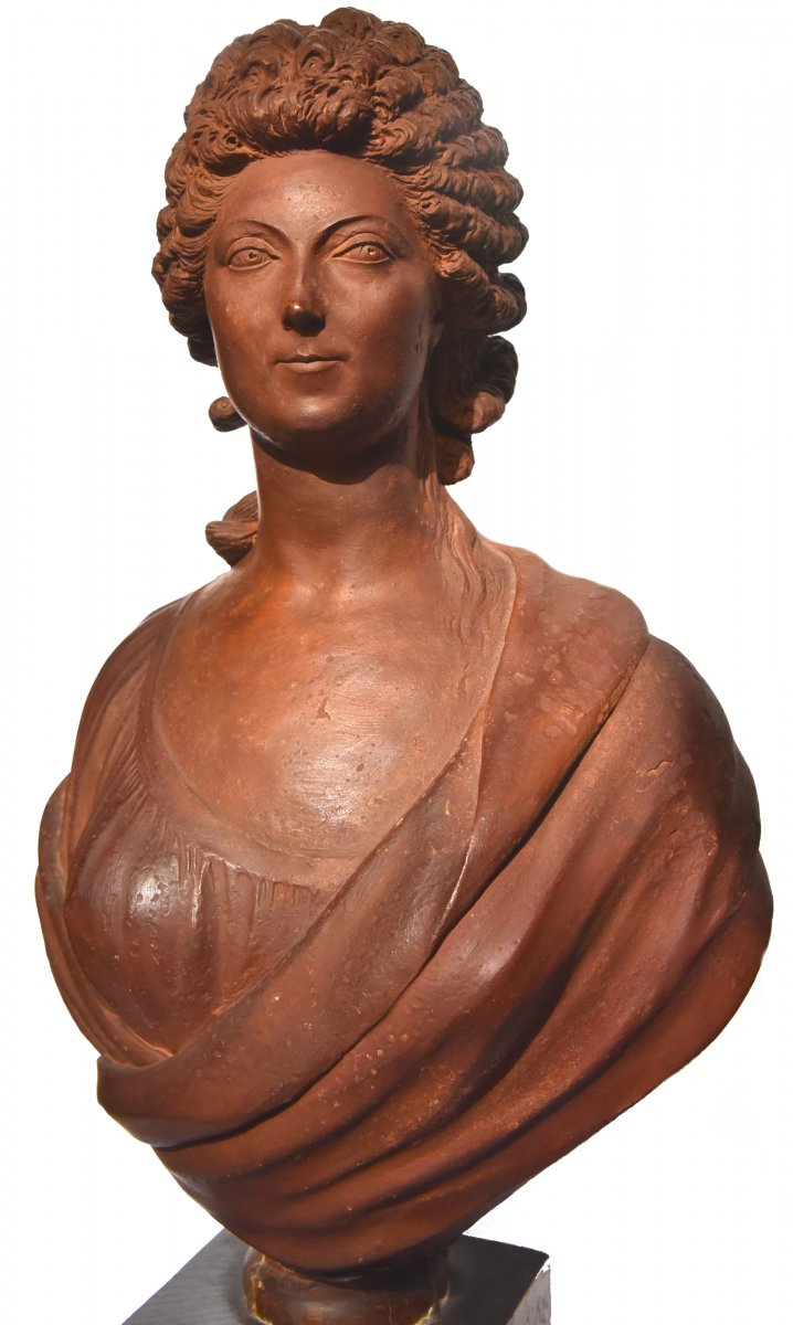 Terracotta Bust Of A Woman From The Revolutionary Period By Martin De Grenoble, 1791