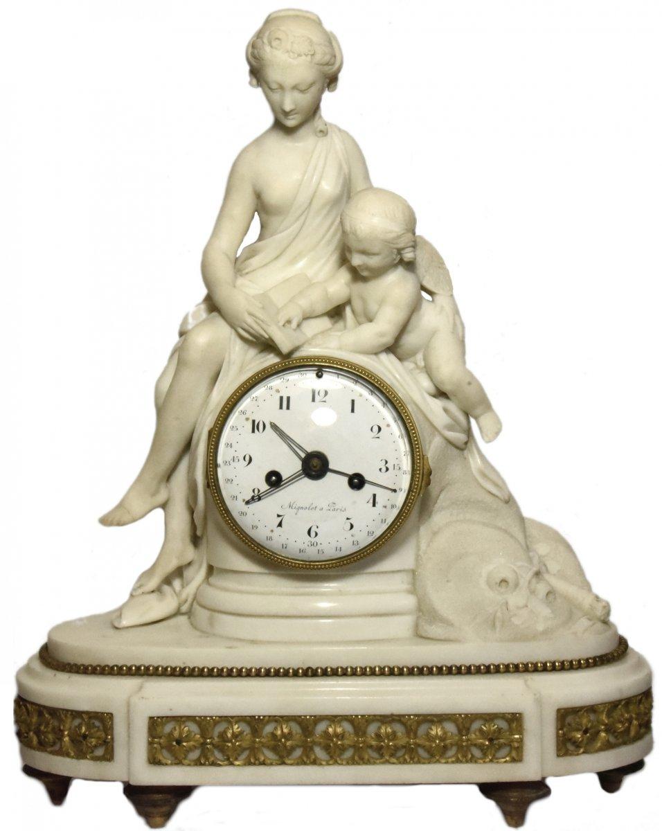 Marble Mantelclock Attributed To Ignace Or Joseph Broche Circa 1780-1790