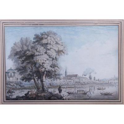 Quai animé en bord de fleuve, dessin de Baraignie, 1781