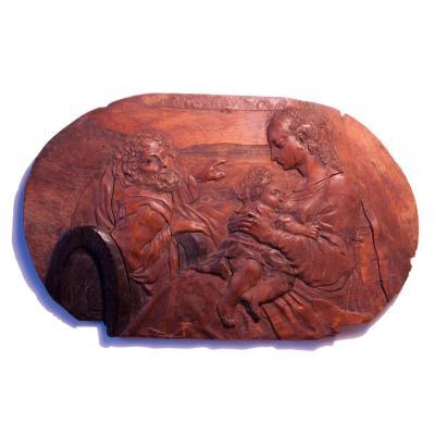 Sainte Famille, panneau en intarsia d' Eger / Cheb