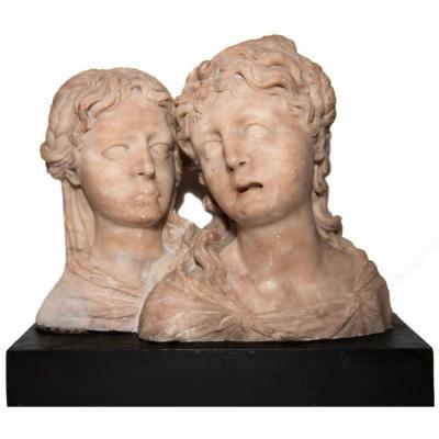 Paire de bustes féminins en albâtre, Pays-Bas méridionaux vers 1550, entourage de Floris