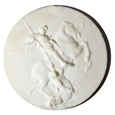 Emmanuel Fremiet - Marble Medallion Of St Georges