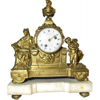 Large Gilt Bronze Louis XVI Mantelclock
