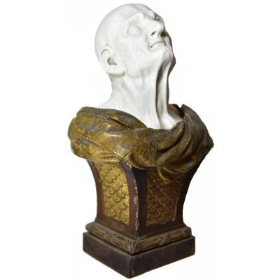 Biscuit Bust Of The Pseudo-seneca After Guido Reni Mounted On A Wooden Sheath, Late 18 Th C.