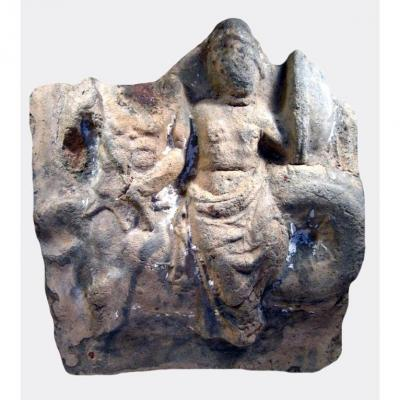 Greek Terracotta Metope Depicting Thetis Riding A Nereid
