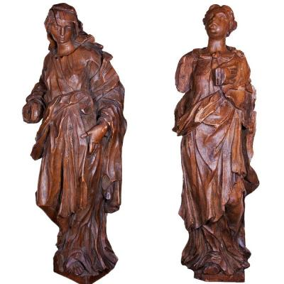 Pair Of Allegorical Oak Figures, Circa 1720-1740