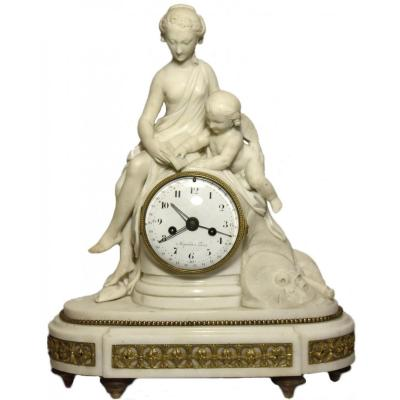 Marble Mantelclock Attributed To Ignace Or Joseph Broche Circa 1780-1790