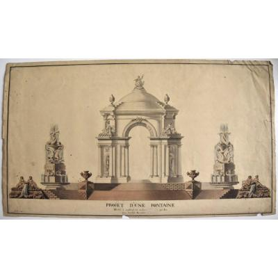 Fountain Project In Pen And Watercolor Dated 1770