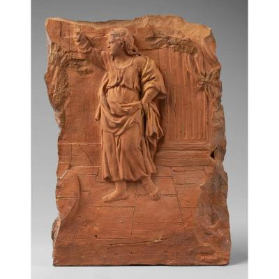 Preparatory Terracotta Relief Representing A Child Preaching, Early 18th Century