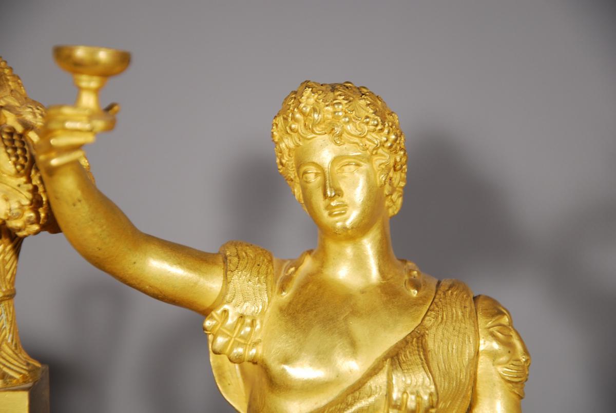 Pendule En Bronze Doré Représentant Bacchus époque Restauration-photo-2