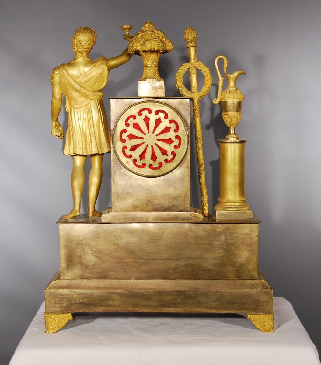Pendule En Bronze Doré Représentant Bacchus époque Restauration-photo-5