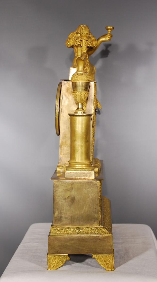 Pendule En Bronze Doré Représentant Bacchus époque Restauration-photo-7