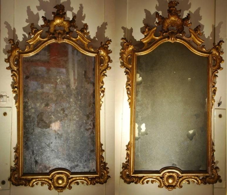 Pair Of Mirrors In Golden Wood Italian 18th Century