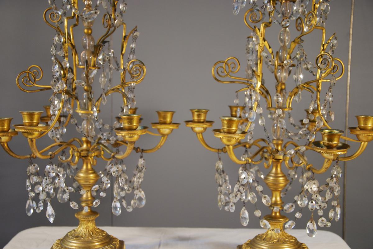 Pair Girandolles And Gilt Bronze Pampilles Late 19th Century