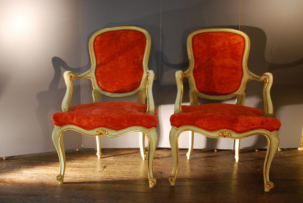 paire de fauteuil italien 19 me fauteuils. Black Bedroom Furniture Sets. Home Design Ideas
