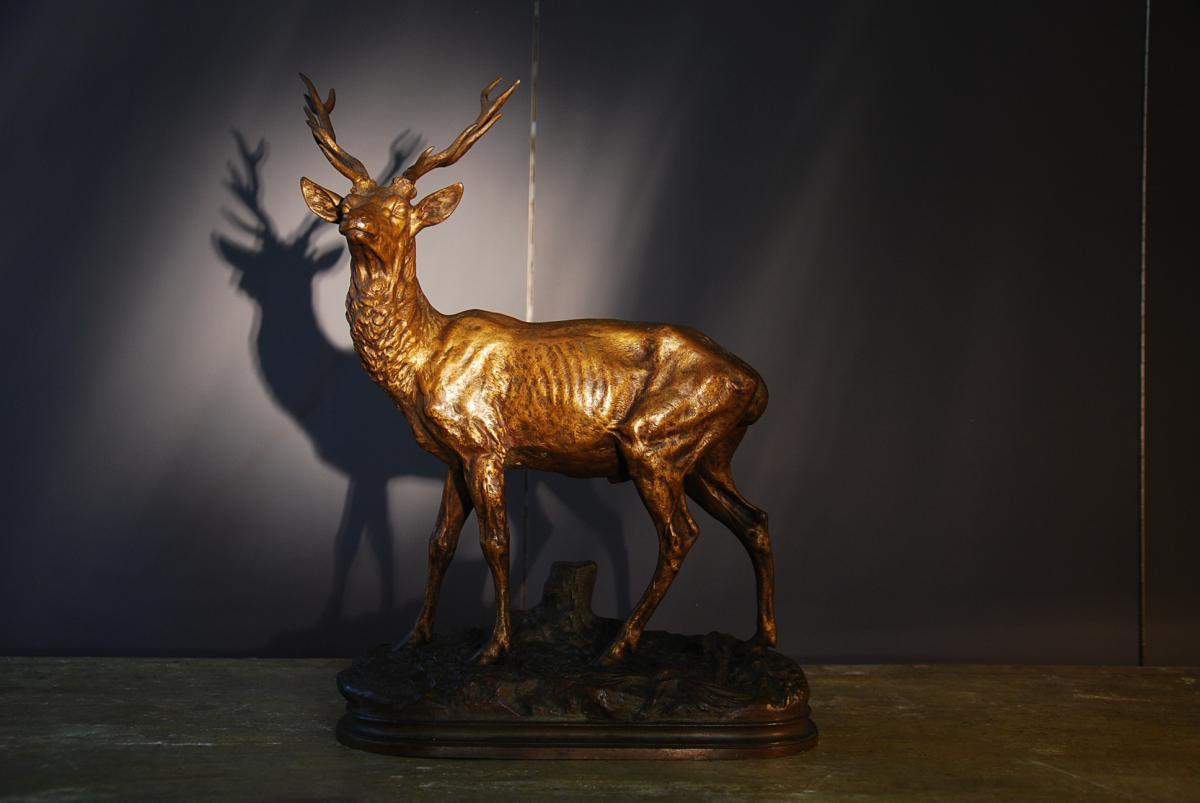 Deer Bronze Signed Alfred Dubucand