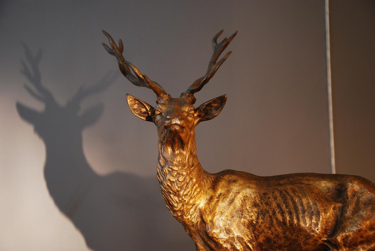 Deer Bronze Signed Alfred Dubucand-photo-2