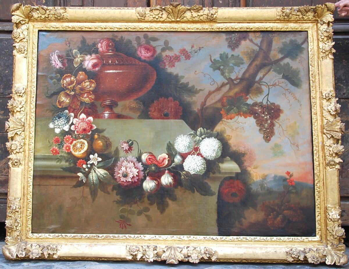 Huile Sur Toile Composition Florale Et Fruits Époque 17Ème